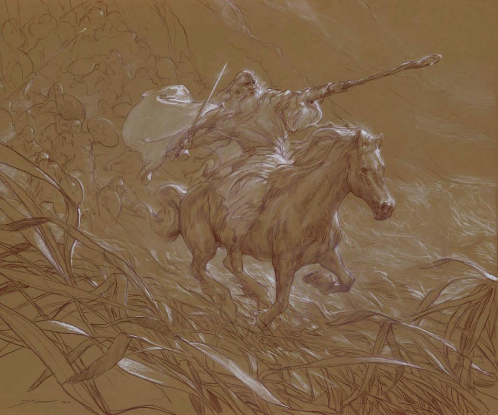 Gandalf el Jinete Blanco en el Abismo de Helm